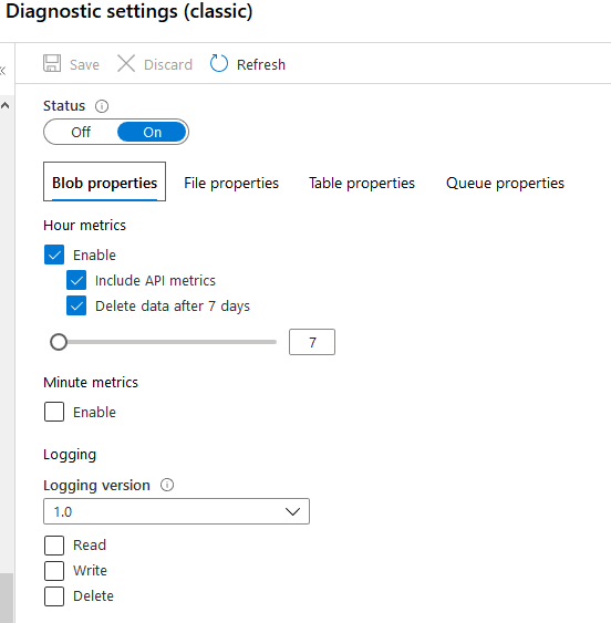 Storage Account Default Diagnostics Settings