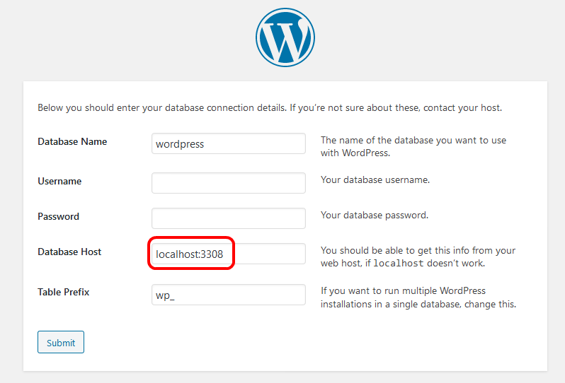 WordPress setup connection with port