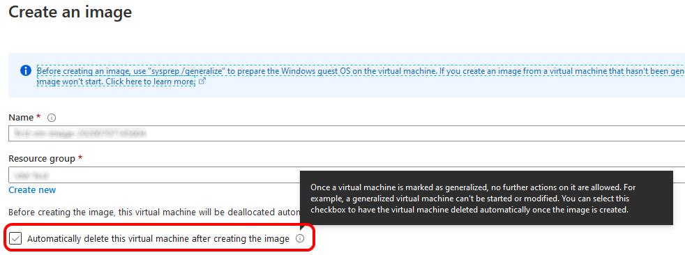 Delete VM when creating an Image