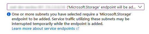Microsoft.Storage endpoint added to virtual network subnet