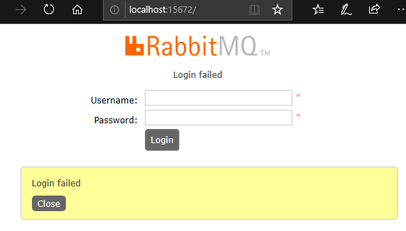 RabbitMQ login failed with blank string